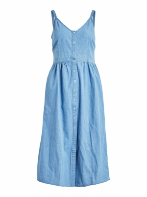 VIFANZI MIDI STRAP DENIM DRESS logo
